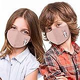 Alsino Mundschutz Stoffmaske Mund- und Nasenschutz für Kinder - waschbar und verstellbar - mit Motiv, perfekt für Schule und Freizeit (altrosa Hase)