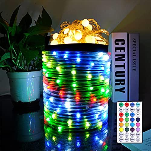 10 m replampor utomhus, RGB-slang regnbåge ljuskontroll färgglad synkroniserande slanglampa med fjärrkontroll och 16 belysningslägen, färgskiftande replampor för sovrum, skrivbord, heminredning