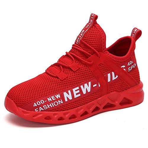 Minbei Hallenschuhe Junge Atmungsaktive Turnschuhe Jungen Sportschuhe Kinder Tennisschuhe Mesh Sneaker Flach Klettverschluss für Mädchen Rot 35 (36 CN=35 EU)