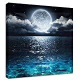 Moon Painting Canvas Wall Art - Bright...
