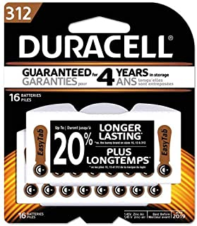 Duracell DA312B16ZM09 Button Cell Hearing Aid Battery #312, 16/Pk