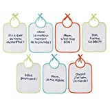 Babycalin Lot de 7 Bavoirs Message 20 x 25 cm