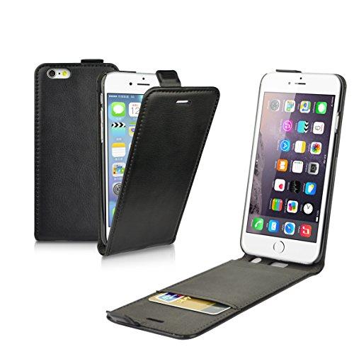 IBROZ - Custodia a portafoglio in pelle PU per Apple iPod 6 (4,7'), colore: Nero