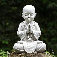 瞑想する赤ちゃん仏庭の装飾、禅庭の僧侶の像の置物の彫刻-家、庭、パティオ、デッキの屋内/屋外の装飾