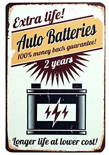 Auto Batteries Metall Blechschild Retro Metall gemalt Kunst Poster Dekoration Plaque Warnung Bar Cafe Garage Party Game Room Hauptdekoration