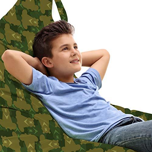 ABAKUHAUS Camo Zitzak, Camouflage met Bear Dieren, Veel Ruimte om Zacht Speelgoed als Knuffels in op te Bergen, met Handvat, Fawn en Hunter-groen