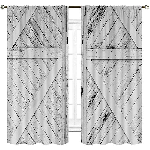 Cinbloo White Rustic Barn Door Curtains Rod Pocket Vintage Farmhouse Painting Gray WoodenArt Printed Living Room Bedroom Window Drapes Treatment Fabric 2 Panels 42 (W) x 63(L) Inch