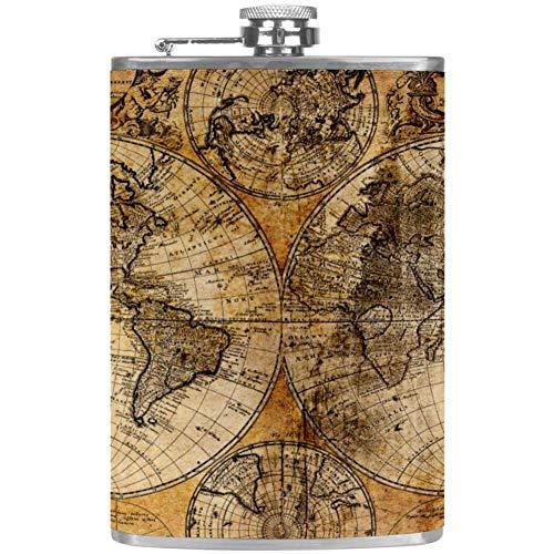 Mapa Antiguo 8 oz Petaca de Acero Inoxidable para Whisky Licor Alcohol con tapón de Rosca Embudo, corrosión Resistente un Buen Regalo para Hombre, Esposo, Padre 227ml