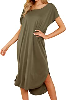 Joteisy Women's Casual Round Neck One Shoulder Short Sleeve Knee Length Dress with Side Slits