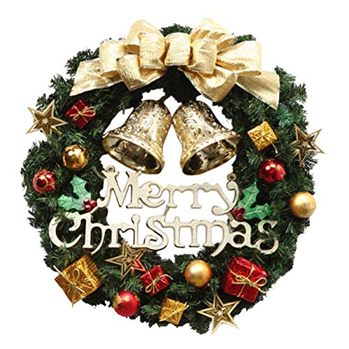 Cozywind Ghirlanda di Natale 36cm con Natale Ciondoli in Metallo Corona Appendino Gancio Festival Ghirlanda Hanging Decoration Home (Gold)