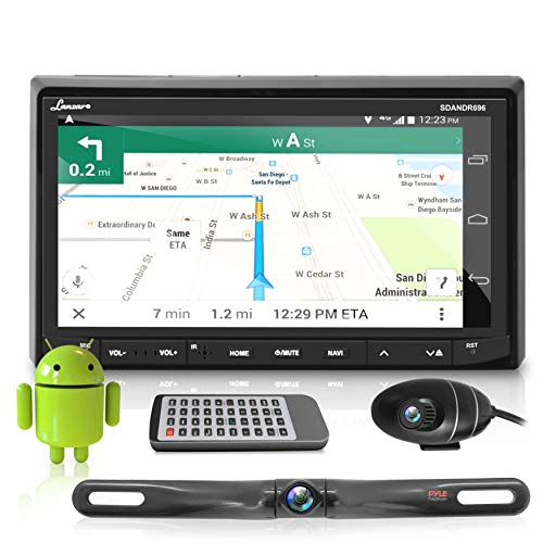 """Pyle Premium Android 7"""" Double DIN Bluetooth DVR Dash Cam, Dual Camera, Car Stereo Receiver, Touchscreen Tablet Style Display, Wi-Fi Web Browsing, App Download"""