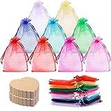 WuikerDuo - Paquete de 100 bolsas de regalo de organza, bolsas de regalo de fiesta, bolsas de regalo de boda con 50 tarjetas en forma de corazón