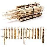 Natürlicher Steckzaun aus Holz in 3 Größen mit integrierten Pfosten
