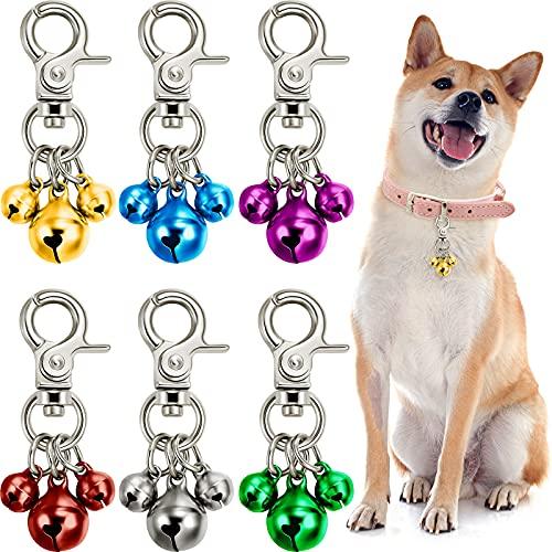 6 Stücke Haustier Glocken für Halsbänder Laute Hundeglocken Schlüsselringe Hundeglocken Halsband Charm Hund Verdreifach Glocke Anhänger für Hunde (Grün, Rot, Blau, Lila, Silber, Gold )
