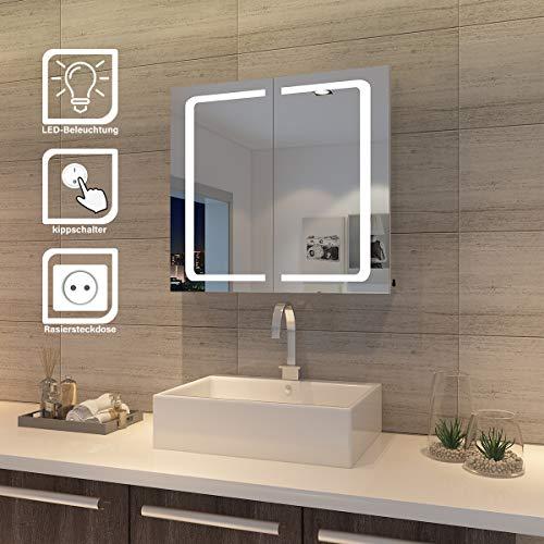 SONNI LED Spiegelschrank Badzimmer Spiegel Hochglanz Badezimmerspiegel - Badschrank mit Beleuchtung (Typ 3)