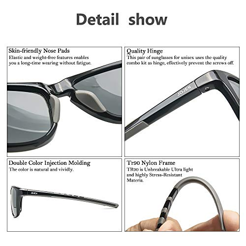 JOJEN Polarized Sports Sunglasses for Men Women Baseball Running Cycling Fishing Golf Tr90 Ultralight Frame JE001(Black Frame Grey Lens)