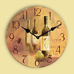 WENXUAN 16 Retro Vintage France Wine Bottle Style Country Tuscan Style Non-Ticking Silent Wooden Wall Clock Art Decoration