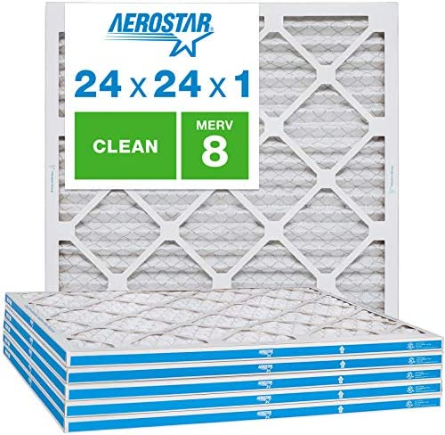Aerostar Clean House 24x24x1 MERV 8 Pleated Air Filter Made in the USA 6 Pack White product image