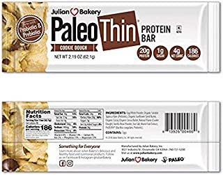 Paleo Thin® 20g Protein Bar (Cookie Dough) 4 Net Carbs (w/Chocolate Chunks) (186 Calories)(Gluten-Free) 12 Bars