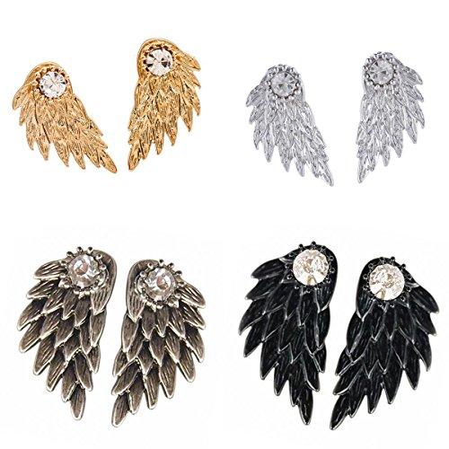 Bonarty 4 Pares / Paquete de Pendientes Elegantes para Mujer con Diamantes de Imitación Brillantes con Alas de ángel, Joyería de Doble Cara