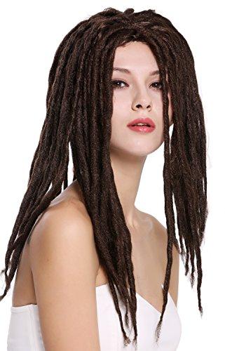 WIG ME UP- 90674-ZA4 Peluca Mujer Hombre Carnaval Halloween Dreadlocks Rasta Rastafari Caribe marrón Oscuro