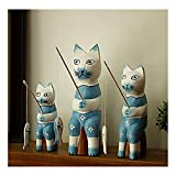 gotor® 雑貨 北欧 置物 インテリア 部屋装飾 店舗飾り ウッド製 アクセサリ 猫釣り 3個セット (ブルー)