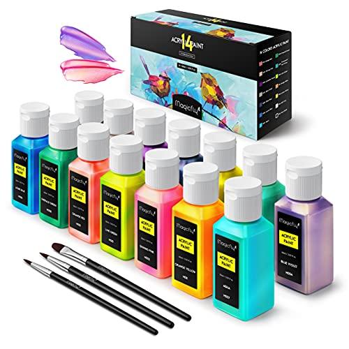 Magicfly Pintura Acrílica Iridiscente 14 Colores/60ml, Pintura Acrílica para Lienzos, Madera, Cerámica y Piedra, Pintura para Artistas, Niños, Aficionados