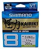 SHIMANO Kairiki 8, 300 Meter, Mantis Grün, 0.060mm/5.3kg, 8fach Geflochtene Angelschnur,...