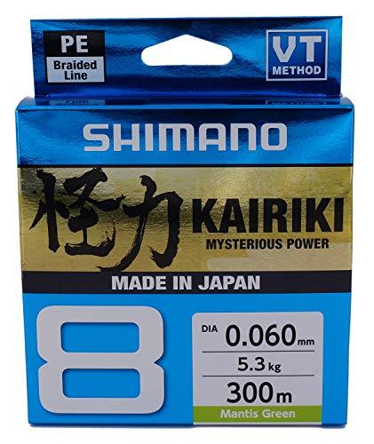 SHIMANO Kairiki 8, 300 Meter, Mantis Verde, 0.100mm/6.5kg, Filo da Pesca Intrecciato, 59WPLA68R01