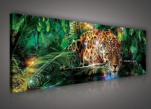 FORWALL Bilder Canvas Jaguar im bunten Dschungel O3 (45cm. x 145cm.) Leinwandbilder Wandbild AMFPP559O3