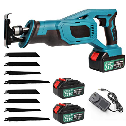 Hotwin 21V reciprocating saw Cordless Max Lithium Ion Compact Cutting Tool 8 Blades Powerful Reciprocating Lightweight for Wood & Metal Cutting