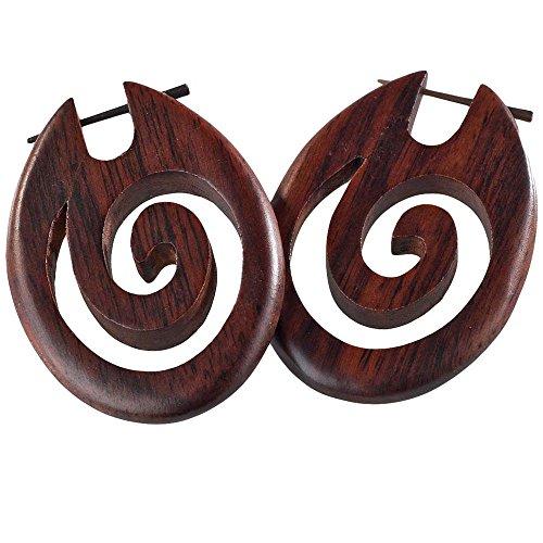 viva-adorno® 1 paar houten oorringen dames oorringen creolen tribal hoorn pin oor piercing W17