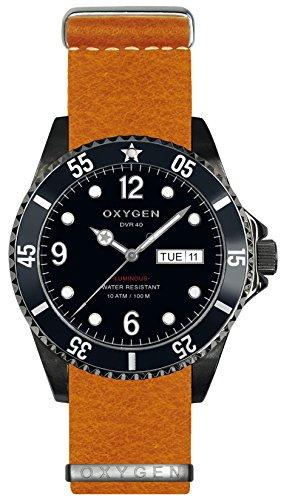 Oxygen Moby Dick schwarz 40 Herren Quarzuhr mit schwarzem Zifferblatt Analog-Anzeige und-Orange Lederarmband EX-D-MBB - 40, NL, oder