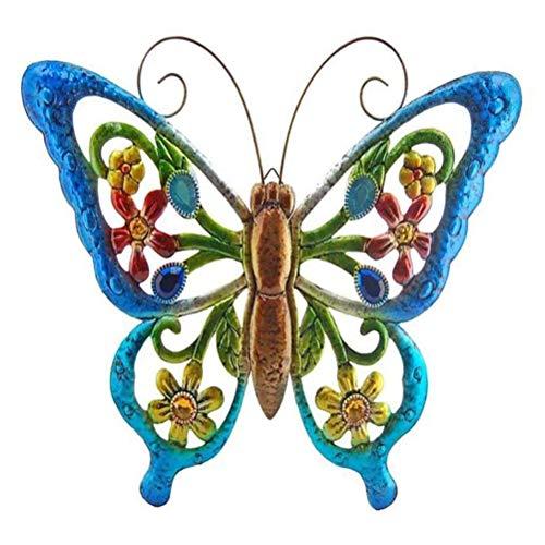 Guillala Decoración Colgante de Pared en Forma de Mariposas de Metal Portátil Adornos para Colgar en la Pared manchados para Jardín, Patio, Hogar, Decoración de Oficina