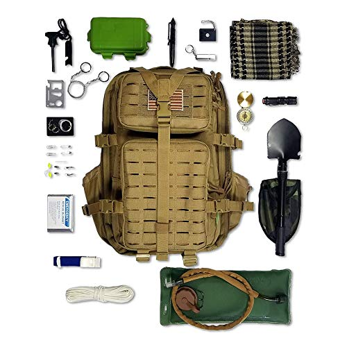 Tactical Backpack + Hydration Bladder with Emergency & Survival Gear, Military Backpack Hiking Camping Bug Out Bag Kit