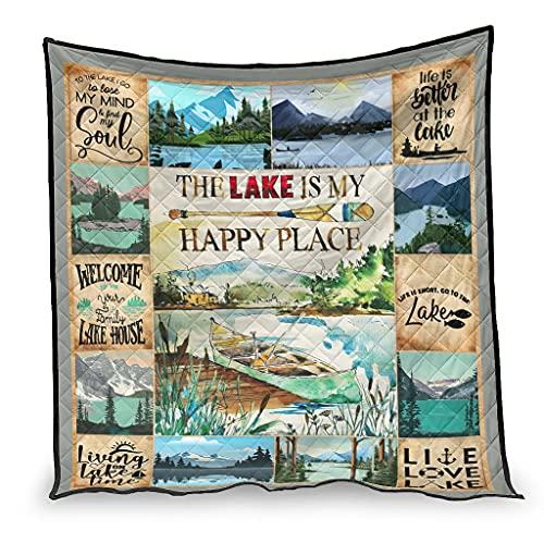 Qunrontan Manta de algodón con peso y colchas The lake is my happy place, súper suave, ligera, para decoración del hogar, sofá, cama, 200 x 230 cm