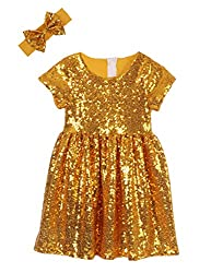 Mustard Yellow Toddlers Sequin Dress