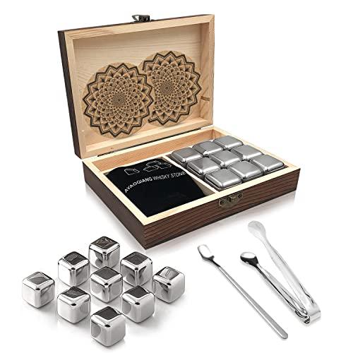 Piedras de whisky reutilizables de acero inoxidable, juego de 9, vienen con pinzas de acero inoxidable, bolsa de almacenamiento y posavasos clásicos de acero inoxidable de AYAOQIANG