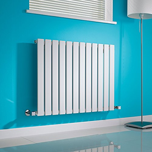 Hudson Reed Radiador de Diseño Moderno Horizontal Delta - Radiador con Acabado Blanco - Paneles Planos - 635 x 840mm - 751W - Calefacción