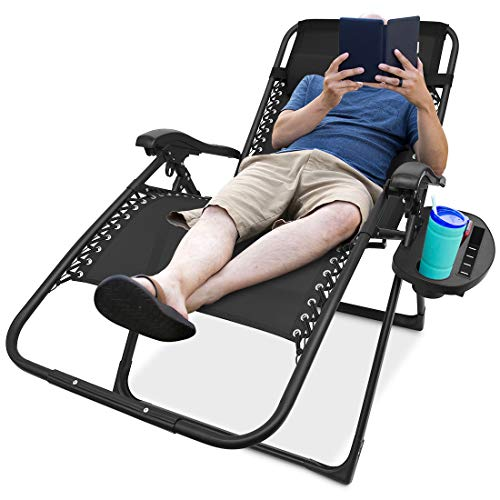 Zero Gravity Chair Oversized, Support 350lbs Folding Lounge Chair Extra Wide 22.5 inch Seat (3 inch Wider Than Average) Perfect for Plus Size Person (Black)