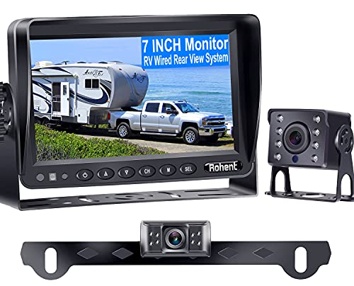 Rohent R4 HD 2 Backup Cameras Kit 7 Inch Monitor Hitch Driving Rear View High-Speed Observation System for RVs Trucks Trailers Campers 5th Wheels Super Night Vision Waterproof IP69