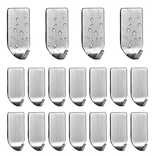 18 Stück Selbstklebende Haken Edelstahl Handtuchhaken Mini Haken Wandhaken Küche klebehaken Mehrzweckhaken Ohne Bohren für Organisation Schmuck, Schlüssel, Hüte, Schals, Handtücher und mehr