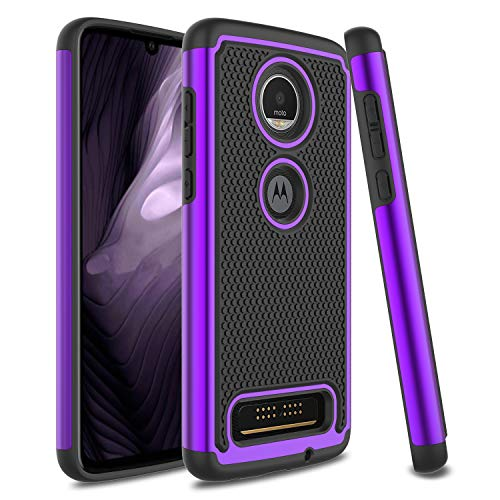 Venoro Moto Z4 Case, Moto Z4 Play Case, Slim Hybrid Dual Layer Armor Anti Scratch Shockproof Rugged Phone Protection Case Cover for Motorola Moto Z4/Moto Z4 Play (Purple)