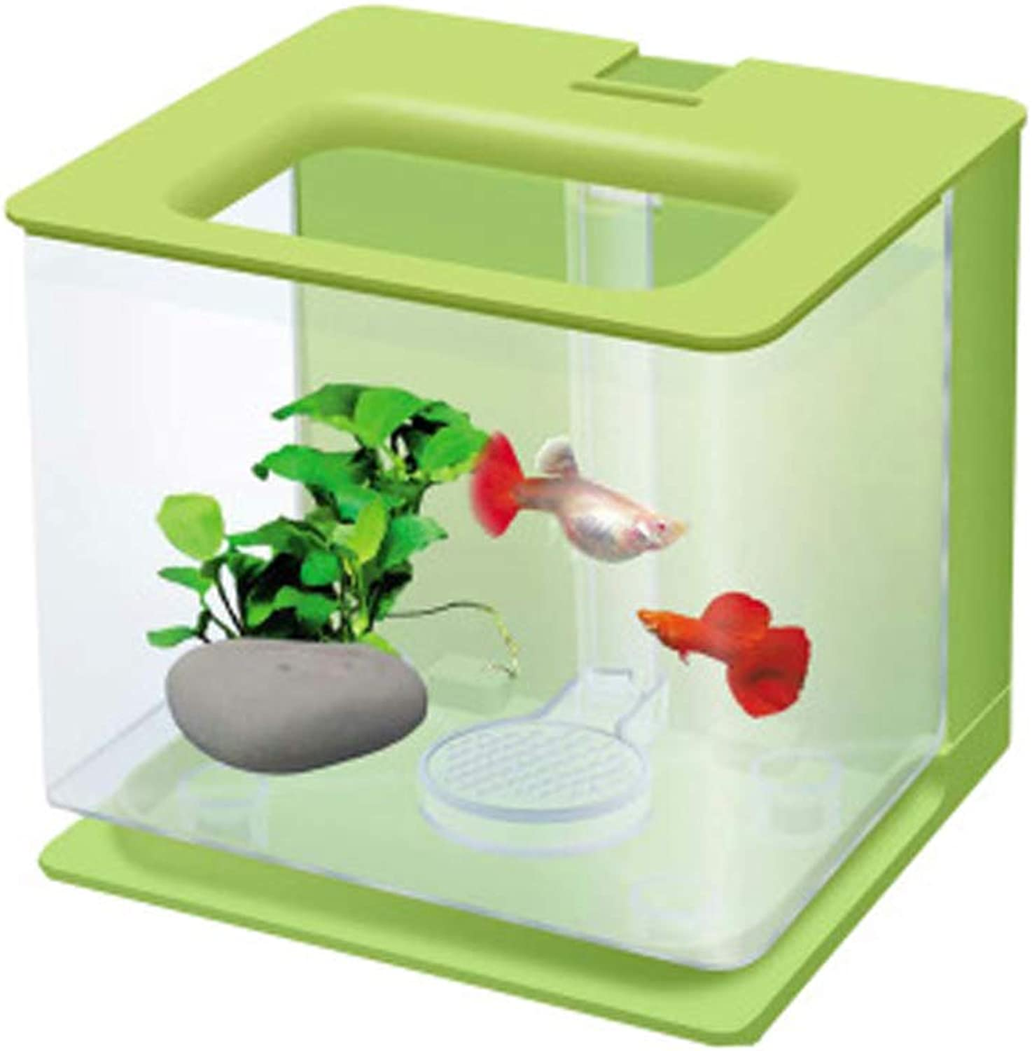 Beast Fish Tank Aquarium Fish Lazy selfCleaning Desktop Mini Plastic Creative Ecological Free Water goldfish SmallLightGreen
