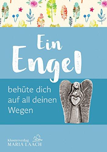 Besondere kleine Engel-Figur mit Herz zum Hinstellen als Schutzengel Mini-Standfigur EIN ENGEL BEHÜTE DICH AUF ALL DEINEN WEGEN, Metall, silber-farben, auf einem Doppelkärtchen (11,5 x 8 cm)