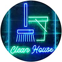 Clean House Helper Shop Display Dual Color LED看板 ネオンプレート サイン 標識 緑色 + 青色 300 x 400mm st6s34-i3605-gb
