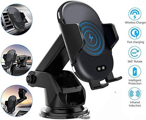 LY88 2-in-1 oplader voor draadloze auto-oplader, automatische infrarood klemming Qi 10 W snellader voorruit dashboard ventilatie telefoonhouder, voor iPhone/Samsung
