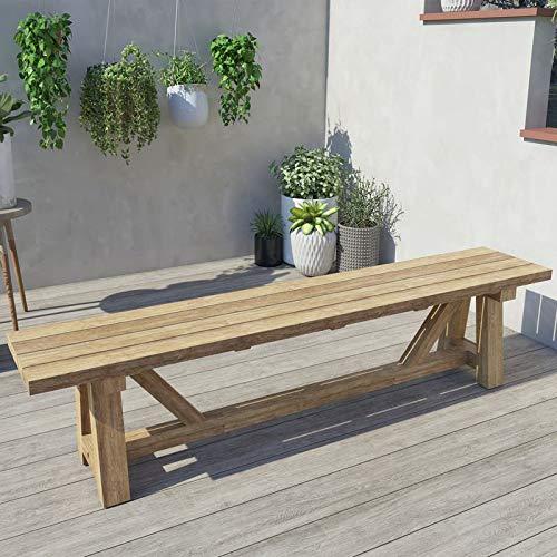 OUTFLEXX Gartenbank XXL, Natur, recyceltes Teakholz, 220x40cm, rustikal gebürstet
