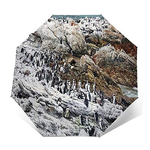 Paraguas Plegable Automático Impermeable Colonia de pingüinos 41,Paraguas De Viaje Compacto A Prueba De Viento, Folding Umbrella, Dosel Reforzado, Mango Ergonómico