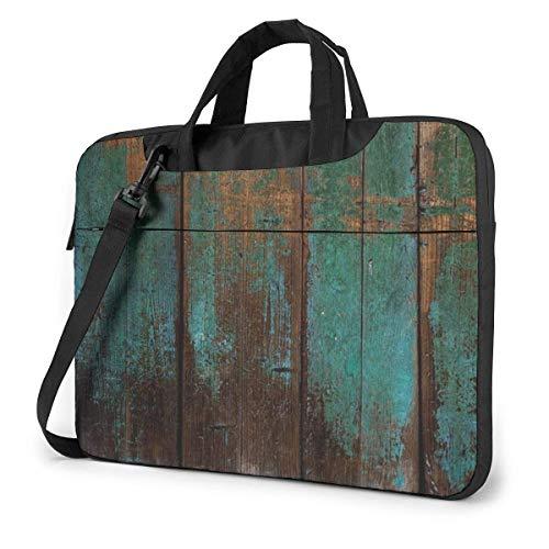 Blue Green Wood Grain Unisex Laptop Bag Messenger Shoulder Bag for Computer Briefcase Carrying Sleeve
